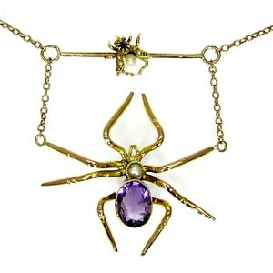 Victorian Amethyst Spider & Sapphire Fly 9ct Yellow Gold Negligee Necklace