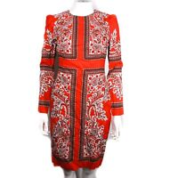 Alexander McQueen - New - Paisley Midi Dress - Red Long Sleeve - US 2 - 40