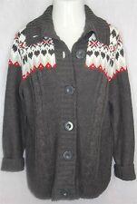 Dress Barn 1X Gray Red Nordic High Fold Collar Chunky Knit Cardigan Sweater