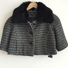 Bebe Black White Mod Retro Cropped Swing Coat Genuine Rabbit Fur Collar Jacket S