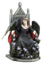 "9.25"" Dark Female Fallen Angel on Throne Gothic Statue Death Evil Fairy Decor"