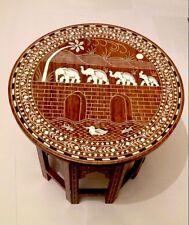 Hecho a mano con incrustaciones de mesa impresionante elefante indio en diseño de puente
