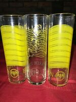 3 BACARDI LIMON Rum 7 TALL Tom Collins HIGHBALL Wavy Yellow LIBBEY Glass Tumbler