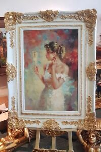 OIL PAINTING ON CANVAS IN BEAUTIFUL WHITE FRAME - #M4