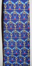 VTG BURBERRYS' TIE Navy Blue Red Gold Bridle Chain Silk Men's Necktie