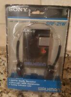 Vintage Sony Walkman AM/FM Stereo Portable Radio SRF-21W Headphones New Open