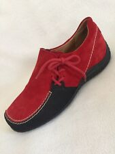 New Gabor Jollys Red Suede Flat Shoes Side Laces sz 39