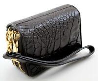 Brown Crocodile Alligator Genuine Leather Women Key holder Coin Purse Wallet
