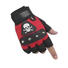 Mens Rock Biker Skull Gloves Motorcycle Skeletal Rivet Driving Fingerless Mitten