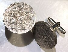 Bearded Viking Warrior Swinging Axe Hobo Nickel Coin Token Cufflinks + Gift Box!
