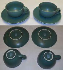 Arabia 24h Matte Green Tea Cups & Saucers Design Heikki Orvola Iittala Finland