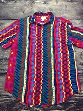 Vintage Womens BRIGHT ABSTRACT 90's Shoulder Pads Blouse Top Size MEDIUM WC15