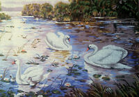 """Needlepoint tapestry painted canvas - Swans. (19""""x24"""") Gobelin 14.820"""