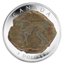 2007 Canada Fine Silver $4 Parasaurolophus Dinosaur Fossil Proof Coin