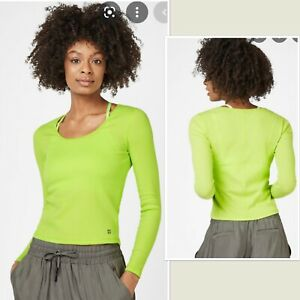 Sweaty Betty Tadasana Ribbed Yoga Top, Long Sleeve, Lime Green, Size S