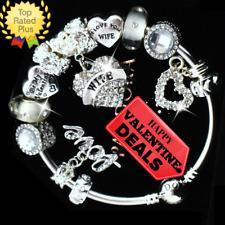 AUTHENTIC PANDORA Silver Bracelet WIFE VALENTINE Love Story European Charms New