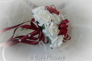 Bridesmaid /Flowergirl Bouquet in Red and Ivory