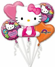 Hello Kitty Happy Birthday Party Favor Supplies 5CT Foil Balloon Bouquet