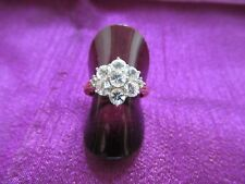 Gold 9ct Gem set daisy cluster ring Size N