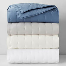 Oake Box Embroidery Collection Cotton Quilted Coverlet WHITE KING $340