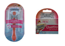 Genuine Wilkinson Sword Quattro For Women Razor + 3 Extra Blades - Fast Shipping