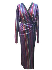 Zara Stripe Velvet Midi Dress Size Large Ref 2712 286
