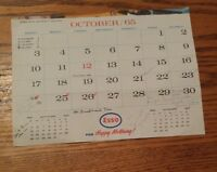 000 Vintage Esso Calendar Page Only October 1965 FOr Happy Motoring