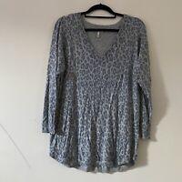 Joie Grey Leopard Print Animal Thin Knit Jumper Cashmere Blend Size L R3