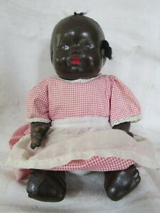 Vintage / Antique Black Doll As Is with Home Made Clothing