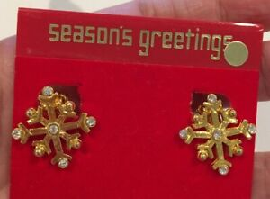 GORGEOUS VINTAGE GOLD TONE SNOWFLAKE CLIP ON EARRINGS ON ORIGINAL CARD