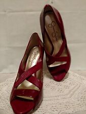 "Maroon Jessica Simpson Criss Cross Opened Toed 4"" Dress Heels Size 8 1/2 B Sharp"
