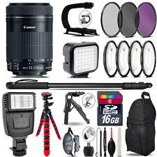 Canon 55-250mm IS STM -Video Kit + Slave Flash + Monopad - 16GB Accessory Bundle