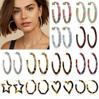 Women Acrylic Resin Statement Earrings Hoop Dangle Boho Geometric Charm Jewelry