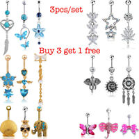 3PCS 14G Unique Dangle Belly Button Ring Lot Body Piercing Navel Barbell Jewelry