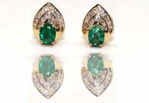14K Gold Handmade Emerald and Diamond Earring studs, Diamond & Emerald Earring.