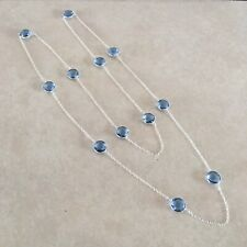 """NATURAL ROUND BLUE TANZANITE 925 STERLING SILVER LONG CHAIN NECKLACE 35"""" MALA"""