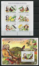 Comoros Comores 2008 MNH Entomologists 6v M/S 1v S/S Butterflies Insects Stamps