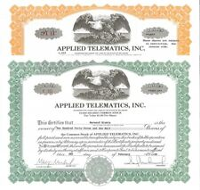 Applied Telematics, Inc > 1989 1995 old stock certificate share
