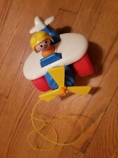 Vintage Fisher Price AIRPLANE PULL TOY & PILOT  # 2017 LITTLE PEOPLE 1980