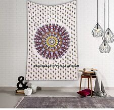 Indian Wall Tapestry Beach Throw Twin Table Cloth Peacock Feather Mandala Hippie