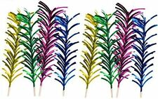 16 Assorted Colour Wooden Party Stick With Strips Cocktail Pick Wedding Firework