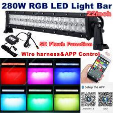 "22inch 280W Halo Ring RGB CREE LED Light Bar Multi Color Offroad SUV ATV 5D 20"""