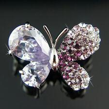 18k White Gold GF Diamond Simulant Swarovski Crystals Butterfly Brooch Pin