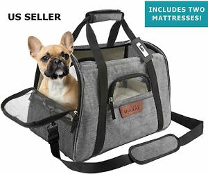 Pet Carrier Bag Travel Case Airline Approved Soft Sided Comfort + 2 Mattresses