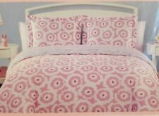 #BEDTIME 5 PC TWIN COMFORTER SHAM SHEET SET Reversible FLOWERS Pink White FLORAL