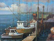 Dipinto Olio su Tela - 60x90 cm - Paesaggio Portuale - Quadro Mare Barche