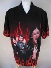 Mens Ozzy Osbourne Family XL Black Red Flames Bowling Shirt UK Heavy Metal