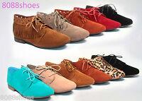 Women's Cute Stylish Round Toe Lace Up oxford Fringe flats Sandal Shoes NEW