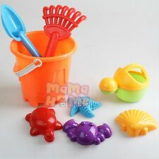 1 x Beach Toys Bucket Sand & bath Toys 4 Moulds 2 Spade 1 Water Can 8PCS