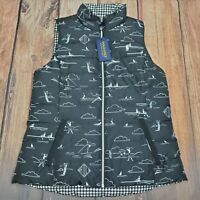 Women's Polo Ralph Lauren Black Reversible  Down Golf Vest Jacket New SZ L